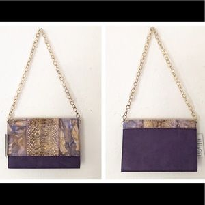 NWT Monzo & Franco Purple Snake & Suede Clutch